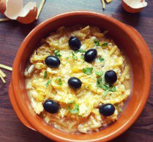 bacalao,bacalhau,cod, huevos, egss, aceitunas, aove, cebolla, onión