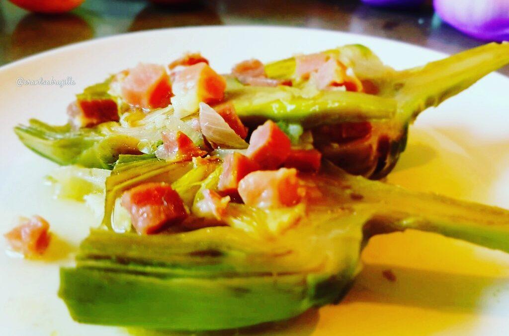 Alcachofas, jamón, artichokes, carchofes, pernil, onion, aglio, oil, aove