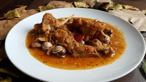 conejo, conill, almendras, salsa de almendras, caracoles , escargots, mandorle, rabbit, almond, estofado