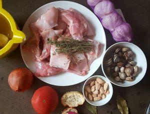 cocotte, lecruiset,conejo, conill, almendras, salsa de almendras, caracoles , escargots, mandorle, rabbit, almond, estofado,