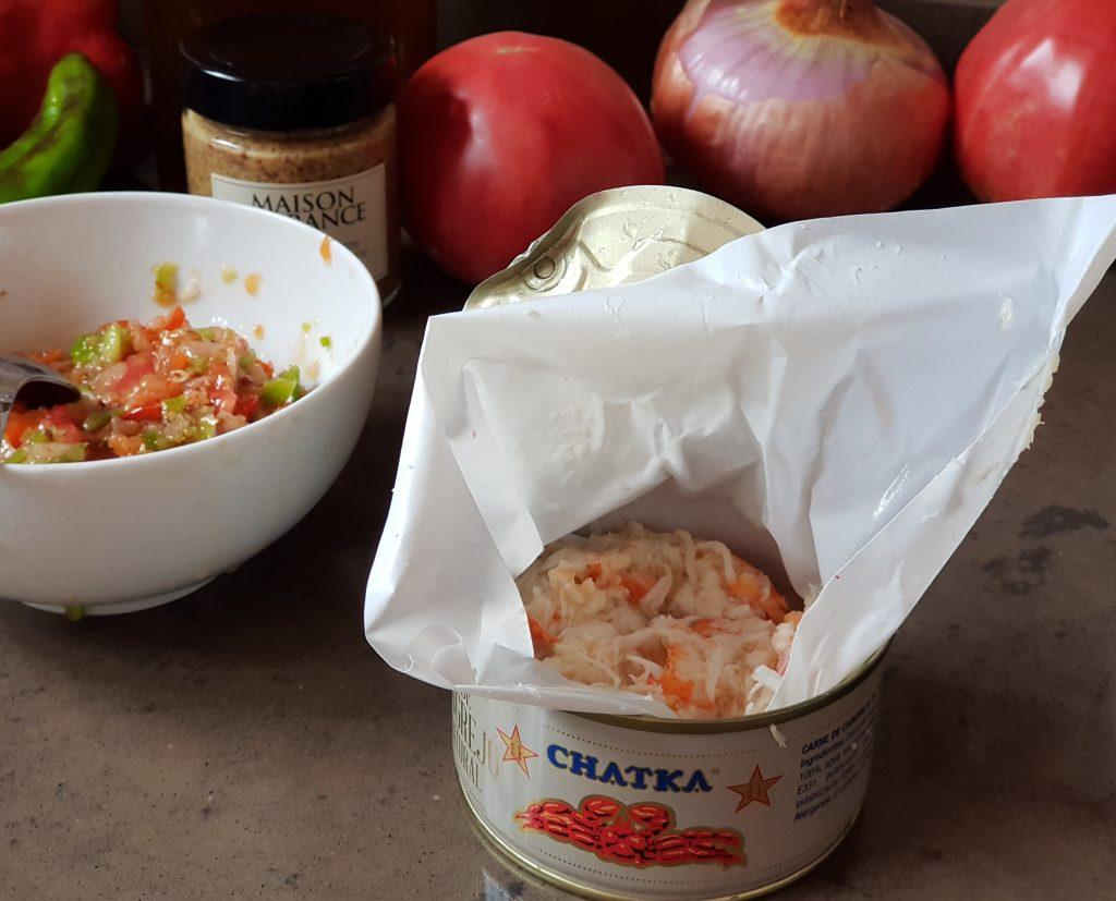 tartar de verduras con cangrejo real chatka
